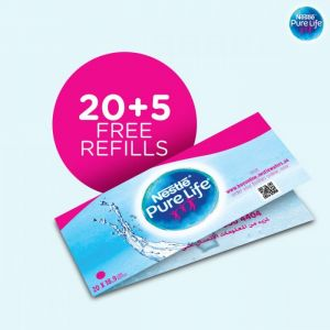 Nestlé® Pure Life® Promo Coupon Booklet (20 coupons+5 Free) 5 Gallon (18.9 Liters) Bottle Refills